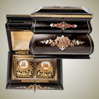 Antique French Boulle Perfume, Scent Caddy, Box, Grand Tour Souvenir Bottles (2), Napoleon III, c. 1860
