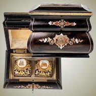 Antique French Boulle Perfume, Scent Caddy, Box, Grand Tour Souvenir Bottles (2), Napoleon III, c. 1860
