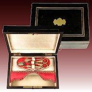Antique Napoleon III Era French Sewing Box, Tools, Scissors, Thimble, Needle Case, Etc.