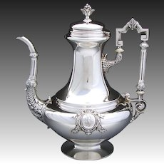 Elegant Large Antique French 42oz Sterling Silver Coffee or Tea Pot, Ornate Empire Style