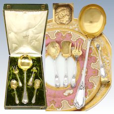 "Antique French 18k Gold on Sterling Silver 4pc Hors d'Oeuvre Set, Matching 10"" Ladle & Orig. Box"