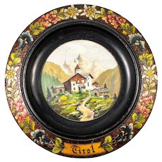 "Vintage to Antique Hand Painted ""Tirol"" Black Forest Carved Wall Plaque, Bread Plate, Tray"