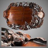 "Huge Vintage to Antique 21.5"" Hand Carved Asian Teak Serving Tray, Frog & Lily Pads"