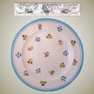 """6 Piece Antique Minton Caldwell 8"""" Cabinet Plate Set, Turquoise & Floral Enamel"""