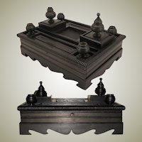"Large Antique Napoleon III Era Carved Ebony 14"" Double Inkwell or Inkstand"