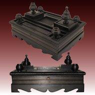 "Large Antique Napoleon III Era Carved Ebony 14"" Double Inkwell or Inkstand"