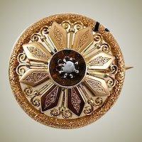 Beauty!  Antique Victorian Era 14K - 15K Gold & Garnet Brooch
