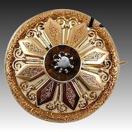 Beauty!  Antique Victorian Era 14K - 15K Gold & Garnet Brooch