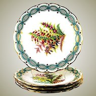 """Antique 4pc Hand Painted 8 3/4"""" Cabinet Plate Set, Flowers with Turquoise & Gold Enamel Borders"""