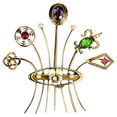 Antique Victorian Stick Pin Brooch Bouquet, 7 in All, 12k to 15k Gold, Pearl, Ruby, Amethyst, etc.