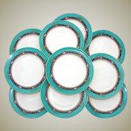 "Charming Vintage Lenox 10pc 8.5"" Plate Set: Teal, Raised Floral Enamel"