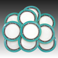 "Charming Vintage Lenox 10pc 8.5"" Plate Set: Teal, Raised Floral Enamel"