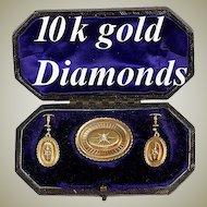 Fine Antique Victorian Gold & Diamond Parure, in Box - Original fitted presentation case, complete!