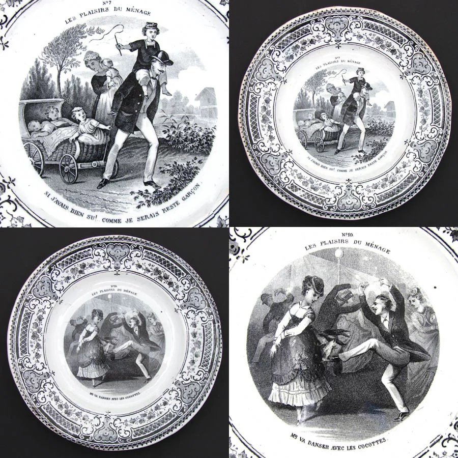 Antique 7pc French Cabinet Plate Set, \
