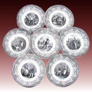 """Antique 7pc French Cabinet Plate Set, """"Pleasures of Household"""", Creil et Montereau"""