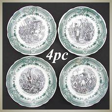 Vintage French 4pc Cabinet Plate Set, Napoleon Military Theme, Sarreguemines
