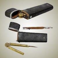 Rare Antique Georgian Era 1700s Shagreen Drafting Tools Etui, Silver