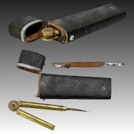 Rare Antique Georgian Era 1700s Shagreen Drafting Tools Etui, Silver