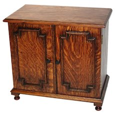 "Fine Antique Victorian to Edwardian Era Oak 14"" Doll Sized Cabinet, Smoker's Chest"