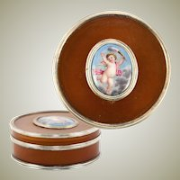 Rare Antique French Boiled Horn & Kiln-fired Enamel Snuff Box, Putti, Trim is Sterling Silver