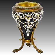 Superb Antique French Kiln-fired Enamel Candle Holder or Small Vase, Stand