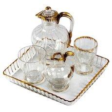 Antique Daum Nancy French Liqueur Decanter Set, Absinthe Service or Bonne Nuit