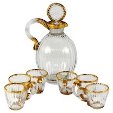 Antique Daum Nancy French Liqueur Decanter Set, 6 Cordials, Signed