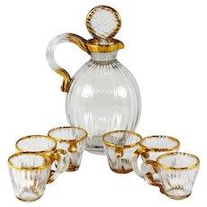 Antique Daum Nancy French Liqueur Decanter Set, 6 Cordials, Signed