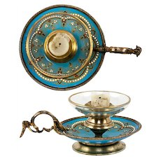 Antique French Kiln-Fired Enamel Candle Holder, Chamberstick, Celeste Blue & Jeweled
