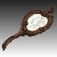 Antique Hand Carved Black Forest Wood Framed Hand Mirror, Wall Frame