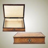 Fine Antique 1800s French Kingwood & Ormolu Jewelry Box, Chest, Lock and Key, Napoleon III