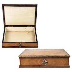 Fine Antique 1800s French Kingwood & Ormolu Jewelry Box, Chest, Lock and Key, Napoleon III