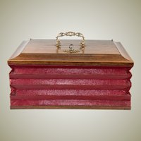 RARE Antique French Stationery Box, Accountant's or Attorney's Briefs Chest, Leather Baffles, c. 1830s