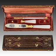 RARE Antique French c.1770-1830 Writer's Set, Complete, Opaline Seal, Pen, Letter Opener in Etui