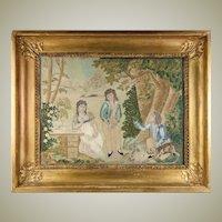 RARE Antique c.1816 French Silk Embroidery Needlework Sampler, Chenille, Empire Frame #1