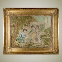 RARE Antique c.1816 French Silk Embroidery Needlework Sampler, Chenille, Empire Frame #2