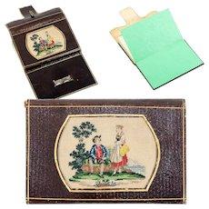 Antique 19th c. Leather Card Case, Note, Necessaire, Needlework Inset, Grand Tour Souvenir