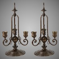 Antique French Bronze Candelabra Pair (2), Signed: F. Barbedienne (Paris Foundry)