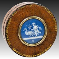 Rare French Revolution Snuff Box, Vernis Martin, Signed Miniature Painting Baby & Eagle