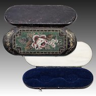 Antique French Beaded Needlepoint Panel, Spectacles Case, Leather Etui