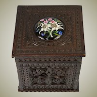 "Delightful Antique Brittany Chip Carved 6"" Tea Caddy or Humidor, HP Porcelain Medallion"