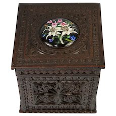 """Delightful Antique Brittany Chip Carved 6"""" Tea Caddy or Humidor, HP Porcelain Medallion"""