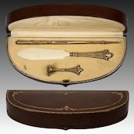 Antique French Desk or Writer's Set, Pen, Seal, (T & G) etc., in Sterling with 18k Vermeil, Etui