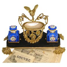 """Antique French 13.5"""" Dore Gilt Bronze, Marble & Mother of Pearl Double Inkwell, Perfume Vide Poche"""