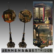 "RARE Antique Jennens & Bettridge Papier Mache 58"" Tall Fire Screen PAIR, Interior Castle Paintings"