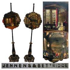 "RARE Antique Jennens & Bettridge Papier Mache 58"" Tall Fire Screen PAIR, Interior Castle Paintings"