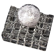 """Superb Antique French Sterling Silver & Cut Crystal 3.75"""" Inkwell, Facet Cut Base, Ornate Silver Top"""