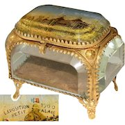 "Antique French Eglomise Souvenir Casket, Box, View of the ""Exposition 1900 Petit Palais"""