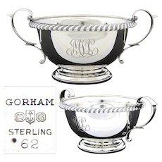 Elegant Vintage Gorham Sterling Silver Sugar Bowl, Caviar Serving Dish, MSL Monogram