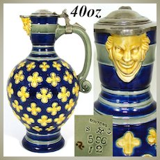 Antique Minton 1873 Majolica 40oz Pitcher, Jug, Cobalt & Yellow, Figural Mascaron Spout